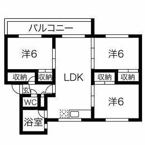 3LDK Mansion in Hitsujigaoka - Sapporo-shi Toyohira-ku Floorplan