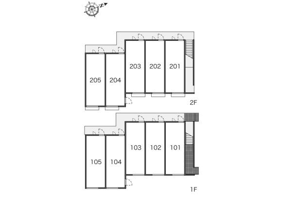 在东村山市内租赁1K 公寓 的 楼层布局
